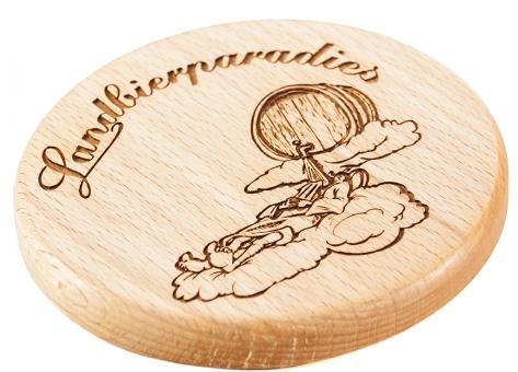 Landbierparadies Holzbierdeckel
